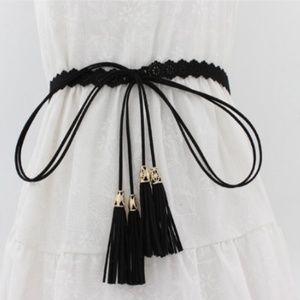 New! Women's Fringe Black Dress Belt